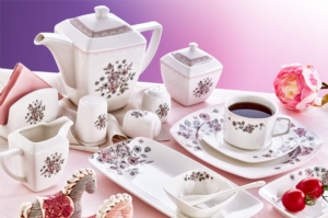 Evimsaray 46 Parça Fine Bone Kare Porselen Kahvaltı Takımı ES-463
