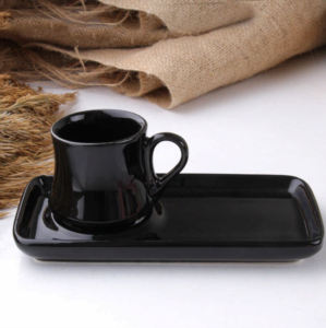 Alper Home 2 Parça Seramik Kahve Fincanı Siyah