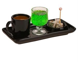 Yakut 3 Parça Siyah Lüks Sunum Tabaklı Kahve Fincanı