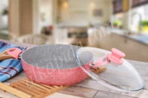 Ece Granitec Tek Basık Tencere 30 cm Pembe