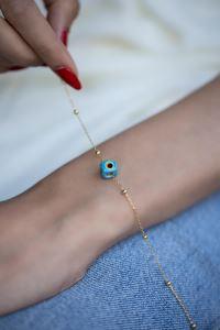 Mavi Nazarlık Model Altın Kaplama Toplu Zincir Gümüş Bileklik