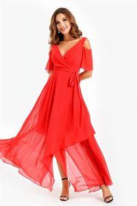 Omuz Dekolteli Volanlı Empirme Şifon Abiye Elbise Kırmızı