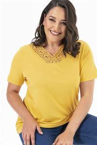 Yakası Güpür Büyük Beden Likra Bluz Sarı