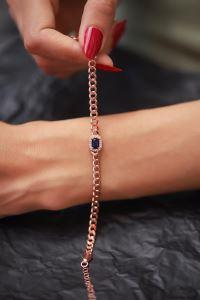 Safir Taşlı Zincir Model Rose Kaplama Gümüş Bileklik