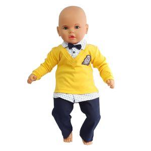 Lüx Armalı Papyonlu Pantolonlu Sarı Bebek Takımı