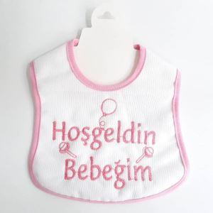 Hoşgeldin Bebeğim Yazılı Pembe Biyeli Su Geçirmez Kız Bebek Önlük