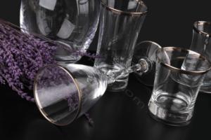 Çınar Kristal 31 Parça 5mm Platin Renk Bantlı Cam Set