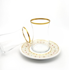 Özcam Kristal 12 Parça Tabak Desenli Çay Takımı D-1628