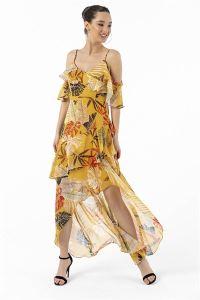 Askılı Yaprak Desen Volanlı Krep Şifon Elbise Sarı