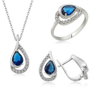 Gümüş Mavi Drop Bayan Set