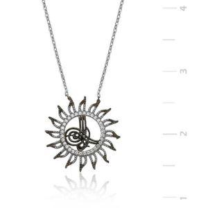 Gümüş Tuğralı Güneş Bayan Kolye