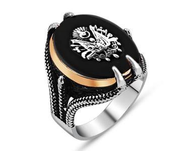 Gümüş Siyah Taşlı Kartal Pençesi Osmanlı Devlet Arması Erkek Yüzük