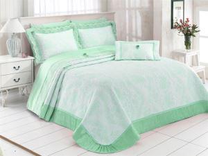 Evlen Home 7 Parça Matmazel Mint Çift Kişilik Pike Takımı PKE-56194
