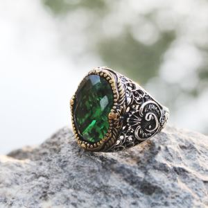 Gümüş Yeşil Zirkon Taşlı Erkek Yüzük
