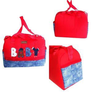 Kırmızı kot desenli Baby Bebek Çantası
