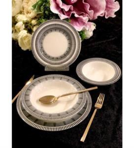 Roy Kıng Black Line Porselen 24 Parça Yemek Takımı
