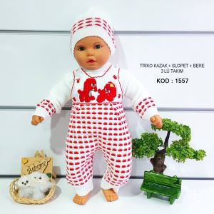 Triko Kırmızı Kazak Salopet Bere 3