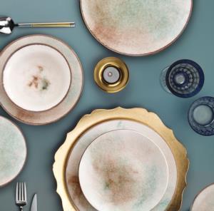 Esta 24 Parça Yuvarlak Porselen Yemek Takımı Ebruli