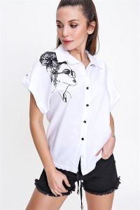 Baskılı Yarasa Kol Beli Bağlamalı Gömlek Beyaz