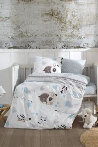 %100 Pamuk Baby Sweety Dogs Blue Bebek Nevresim Takımı