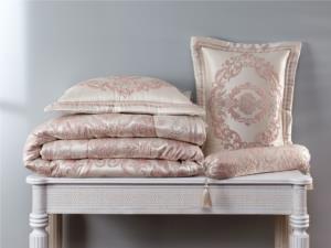 Evlen Home 4 Parça Hilal Pano Pink/Silver Çift Kişilik Yatak Örtüsü