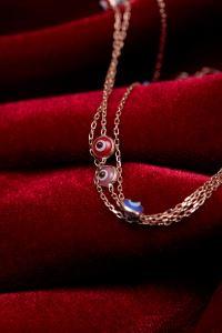 Üçlü Zincir Nazarlık Model Rose Gümüş Bileklik