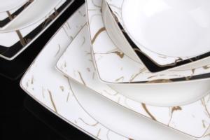 Sevenly 85 Parça Bone Kare Porselen Gold Yemek Takımı