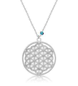 Gümüş Nazar Gözlü Yaşam Çiçeği Kolye