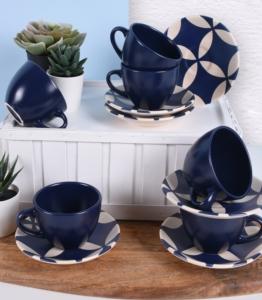 Keramika 12 Parça 6 Kişilik Kobalt Mat Çay Takımı- 18531