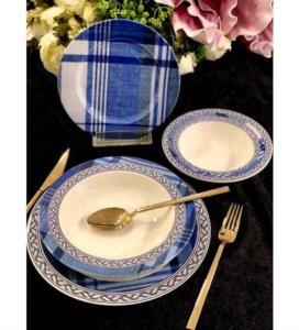 Roy Kıng Blue Blanch Porselen 24 Prç Yemek Takımı