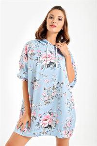 Kapüşonlu Gül Desenli Oversize Sweat Elbise Mavi