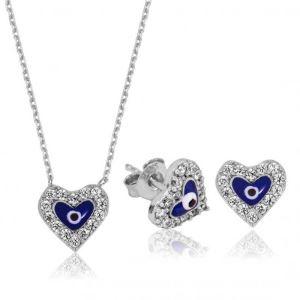 Gümüş Nazarlı Kalp Set
