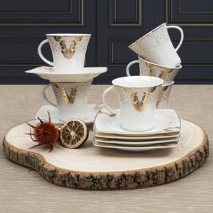 Güral Porselen 12 Parça Bone Carolina Türk Kahvesi Takımı Bant
