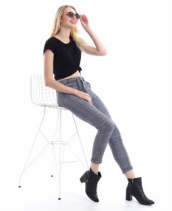 Darkline Kadın Gri Kareli Kemerli Jogger Pantolon