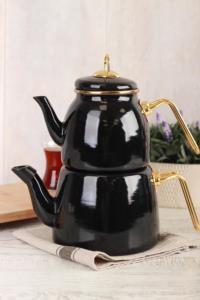 Acar Roma Emaye Çaydanlık Takımı - Siyah