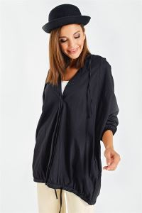 Yarasa Kol Soft Cotton Kapşonlu Cepli Kısa Trençkot Siyah