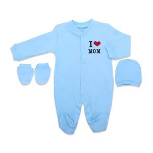 Mavi I Love Mom & Dad Nakışlı Bereli Eldivenli Bebek Tulum