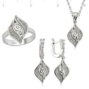 Gümüş Yaprak Desenli Bayan Set