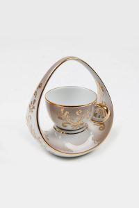 Kütahya Porselen El Yapımı Sepet Kahve Fincan Kahverengi