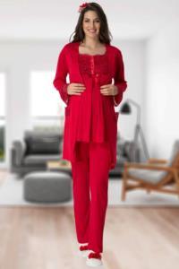 Mecit Kırmızı Sabahlıklı Dantel Detaylı Lohusa Pjama Takımı 5420