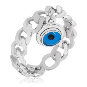 Gümüş Zincir Nazar Göz Bayan Yüzük