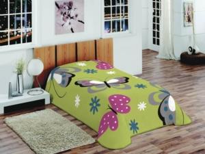 Merinos Tek Kişilik Fashion Butterfly Yeşil Battaniye