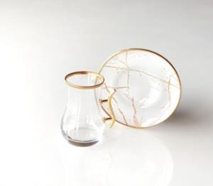 Gürcü Glass 12 Parça Beyaz Mermer Desen Kulplu Çay Seti