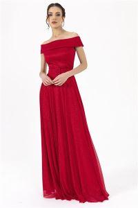 Madonna Yaka Simli Prenses Abiye Kırmızı
