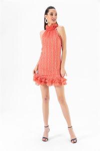 Puantiyeli Fırfırlı Simli Elbise Oranj