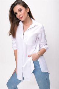 Tek Cepli Yanları Yırtmaçlı Cotton Gömlek Beyaz