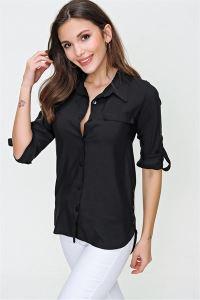 Yanları Düğme Aksesuarlı Fleto Cepli Gömlek Siyah