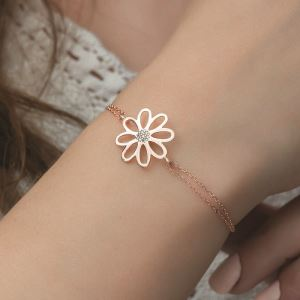 Gümüş Rose Çiçek Bayan Bileklik