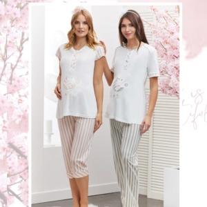 Flz Dowry 24-291 Bayan Pijama Takımı Ekru Somon