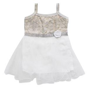 Gold İşlemeli Beyaz Tüllü Kız Bebek Elbise